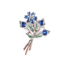Early Enamel Rhinestone Flower Blossom Bouquet Brooch Pin Pot Metal