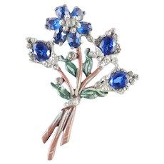 Early Enamel Rhinestone Flower Blossom Bouquet Brooch Pin Pot Metal