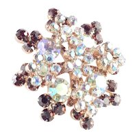 Juliana D & E Rhinestone Rosette Star Brooch Pin