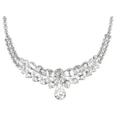 Layered Rhinestone Necklace Rhodium Plate