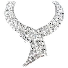 Weiss Rhinestone Bib Necklace Rhodium Plate Unsigned