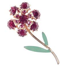 Rhinestone Enamel Long Stemmed Flower Blossom Brooch Pin
