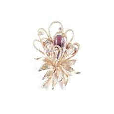 Hattie Carnegie Art Glass Rhinestone Flower Blossom Brooch Pin