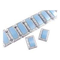 PAM Thermoset Lucite Panel Cabochon Bracelet Earrings Set