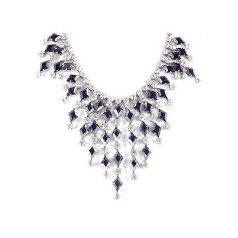 Rhinestone Art Glass Harlequin Bib Necklace