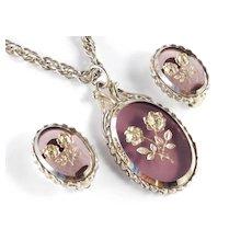 Whiting & Davis Art Glass Intaglio Pendant Necklace Earrings Set
