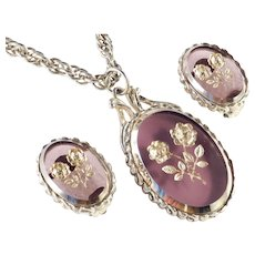 Whiting & Davis Art Glass Intaglio Pendant Necklace Earrings Set