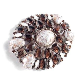 Schreiner Art Glass Cabochon Rhinestone Brooch Pin / Pendant