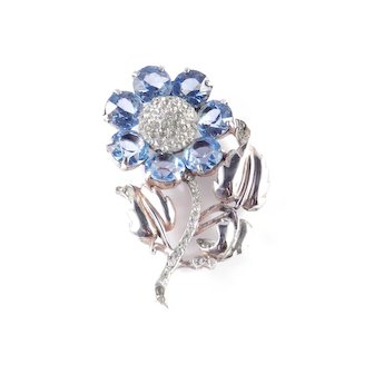 Reja Sterling Silver Art Glass Rhinestone Flower Blossom Brooch Pin
