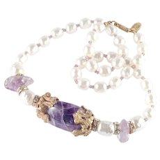 Miriam Haskell Rhinestone Amethyst Baroque Faux Pearl Necklace