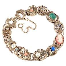 Goldette Slide Charm Bracelet Rhinestone Bead Jeweled