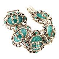 Judy Lee Victorian Revival Molded Glass Bead Panel Bracelet