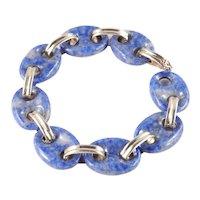 Vintage 14k Gold Lapis Lazuli Link Bracelet