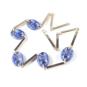 Vintage 14k Gold Lapis Lazuli Link Necklace