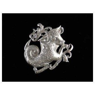Cini Sterling Silver Taurus Brooch Pin