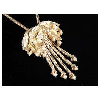 Tortolani Faux Pearl Chain Fringe Necklace