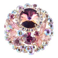 Juliana D & E Watermelon Tourmaline Rivoli Rhinestone Brooch Pin