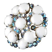 D & E Juliana Milk Glass Cabochon Rhinestone Brooch Pin
