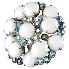 D & E Juliana Milk Glass Cabochon Rhinestone Brooch Pin