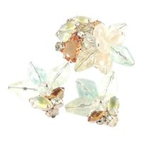 Rhinestone Art Glass Acrylic Brooch Pin Earrings Set
