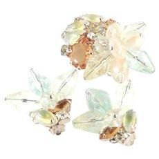 Rhinestone Art Glass Acrylic Brooch Pin Earrings Set