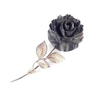 Van Dell Carved Rose Flower Gold Filled Brooch Pin