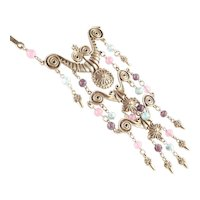 Goldette Etruscan Revival Bead Dangle Bib Necklace