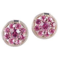 Weiss Domed Rhinestone Earrings