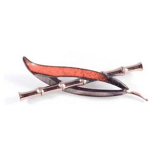 Matisse Renoir Copper Enamel Bamboo Brooch Pin