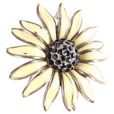 Trifari Enamel Rhinestone Sunflower Brooch Pin