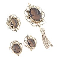 Whiting Davis Frosted Glass Cameo Necklace Earrings Ring Parure Set