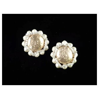 Schiaparelli Faux Pearl Glass Bead Earrings