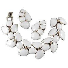 White Glass Cabochon Wide Link Bracelet Climber Earrings Set
