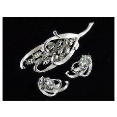 BSK Rhinestone Brooch Earrings Demi Parure Set