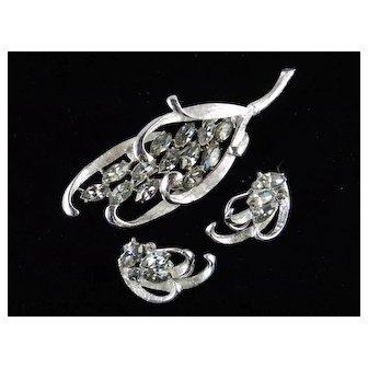 BSK Rhinestone Brooch Earrings Demi Parure Set