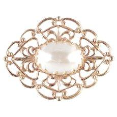 Miriam Haskell Faux Pearl Filigree Shield Brooch Pin