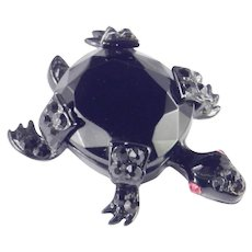 Weiss Art Glass Rhinestone Enamel Turtle Figural Brooch Pin