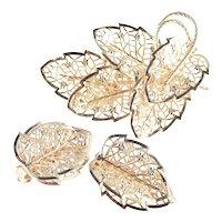 Judy Lee Large Filigree Brooch Earrings Demi Parure Set