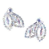 Weiss Aurora Borealis Rhinestone Earrings Rhodium Plate