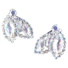 Weiss Aurora Borealis Rhinestone Earrings Rhodium Plate