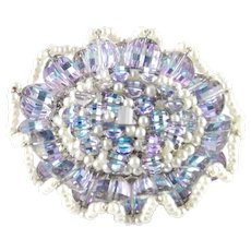 Vendome Coro Large Crystal Faux Pearl Ruffle Brooch Pin