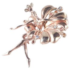 Rhinestone Ballerina Dancer Figural Brooch Pin