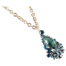 Weiss Art Glass Rhinestone Pendant Necklace