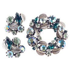 Austria Rhinestone Wreath Brooch Pin Earrings Demi Parure Set