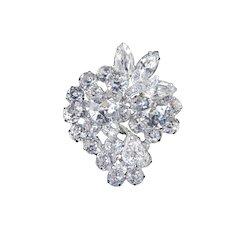Eisenberg Ice Dentelle Rhinestone Cluster Brooch Pin Rhodium Plate