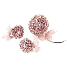 Rhinestone Enamel Flower Brooch Earrings Demi Parure Set