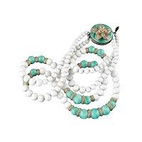 Early Napier 1920s Glass Bead Gilt Brass Double Row Necklace