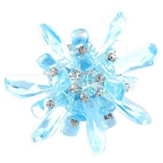 Miriam Haskell Molded Glass Crystal Rhinestone Brooch Pin