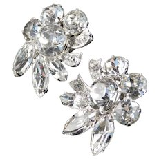 Eisenberg Dentelle Rhinestone Earrings Rhodium Plate