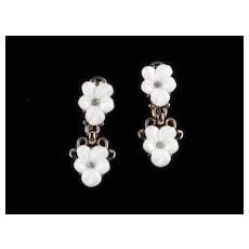 Trifari Forget Me Not Molded Glass Rhinestone Dangle Earrings